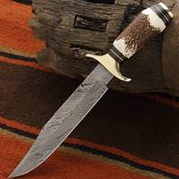 Stag Handle Damascus Bowie