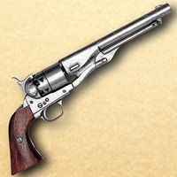 1860 Army Issue Civil War Revolver - Pewter Finish