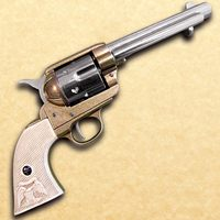 1873 .45 Caliber Revolver Fast Draw Style Nickel and Gold Finish