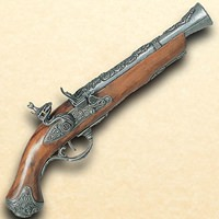 18th Century British Flintlock Blunderbuss Pistol - Pewter